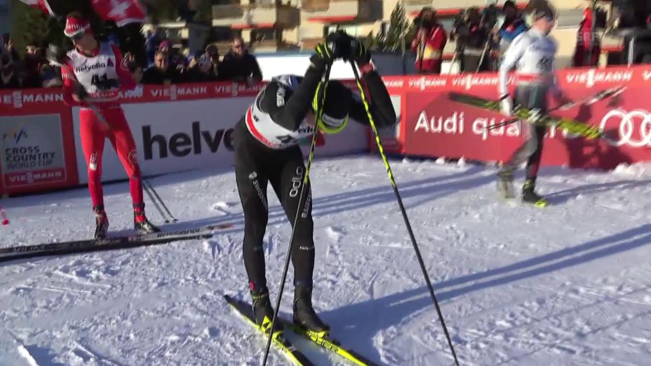 Ski Nordisch, 30km freie Technik Davos, Zieleinlauf Cologna