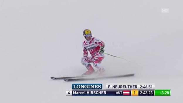 Video «Ski: Riesenslalom Garmisch, 2. Lauf Marcel Hirscher» abspielen