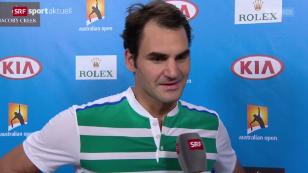 Video «Federer schlägt Dimitrov in 4 Sätzen» abspielen