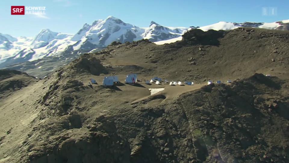 Leeres Basis-Lager am Fusse des Matterhorns