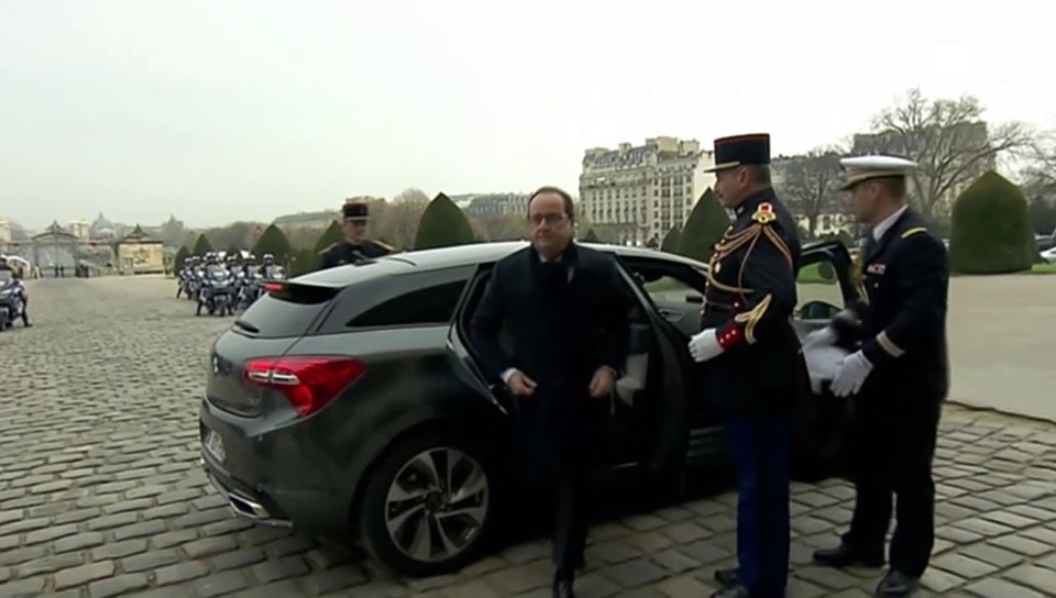 Ankunft Hollande zur Gedenkfeier