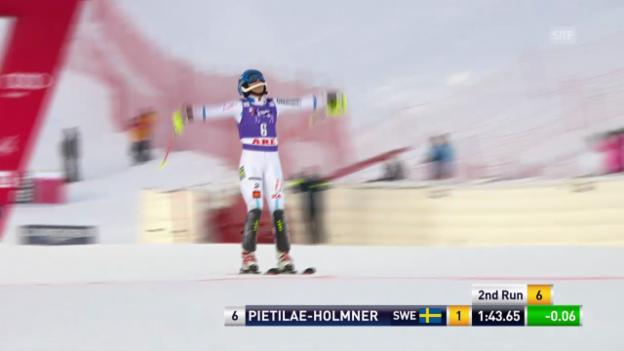 Video «Ski: Weltcup Frauen, Slalom Are, 2. Lauf Pietilae-Holmner» abspielen