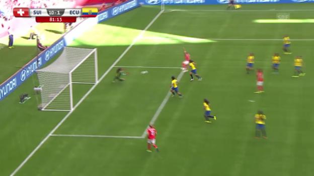 Video «Fussball: Frauen-WM, Schweiz - Ecuador, 10:1 von Bachmann» abspielen