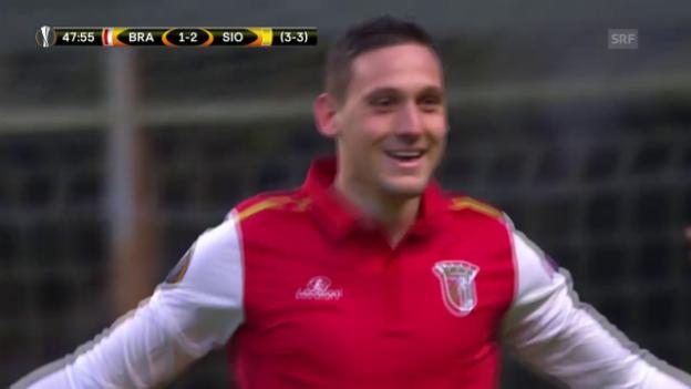 Video «Bragas Stoiljkovic gleicht nach 48 Minuten zum 2:2 aus» abspielen