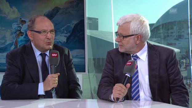 Video «Gespräch mit Bernard Thurnheer Peter Gysling (sotschi direkt, 23.02.2014)» abspielen