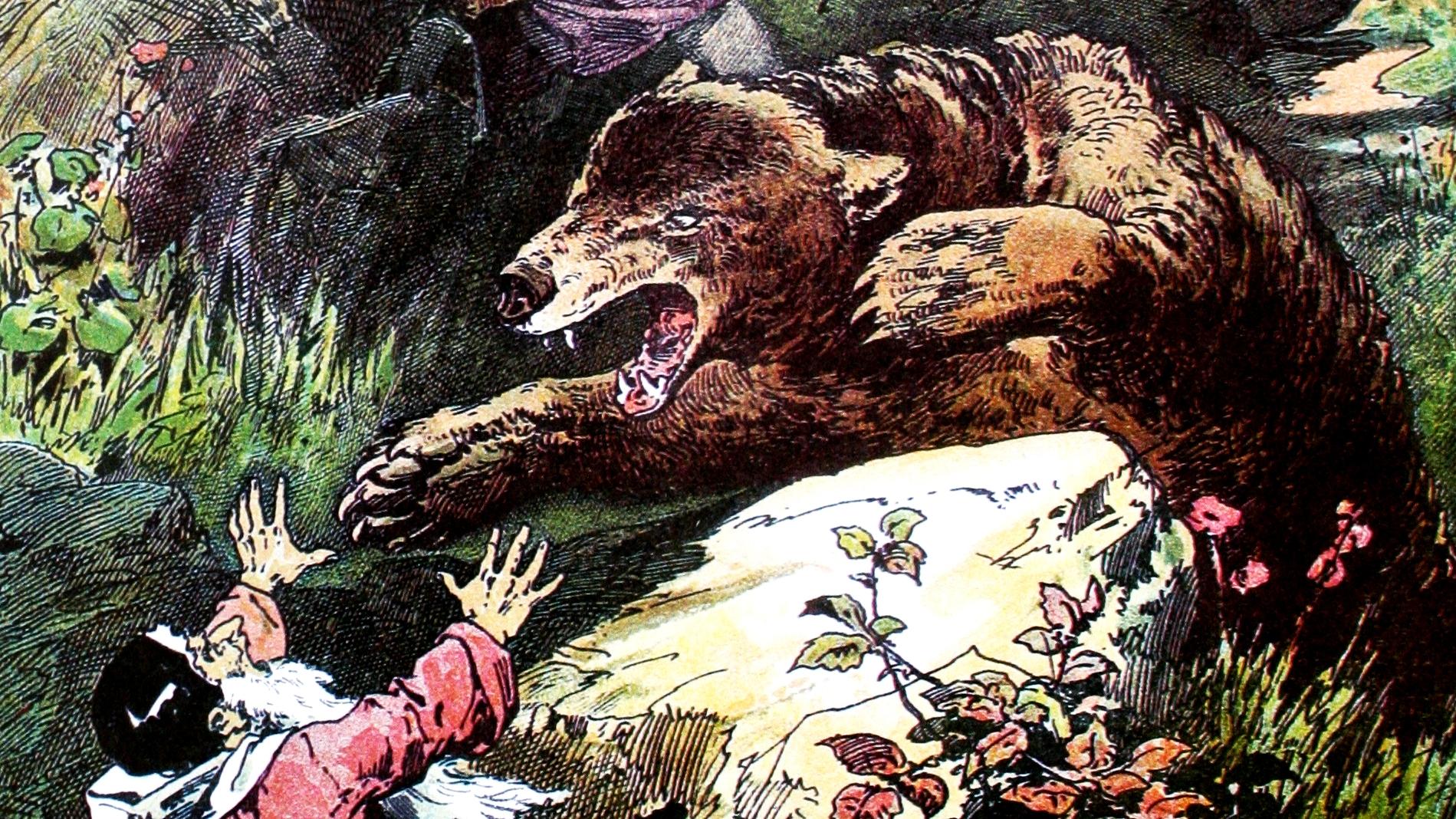 Kinder über den ungefährlichen Bären
