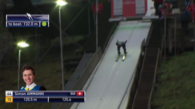 Video «Skispringen: Weltcup in Engelberg, 2. Sprung von Simon Ammann» abspielen