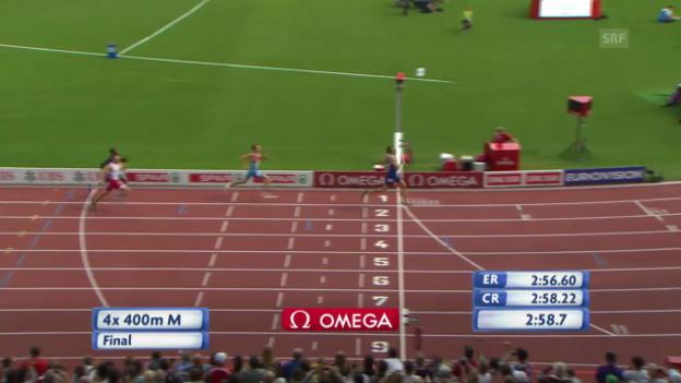 Video «LA: 4x400-m-Rennen der Männer» abspielen