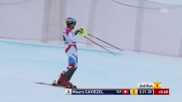 Video «Ski: der Slalom-Lauf von Mauro Caviezel in der Superkombi in Wengen» abspielen