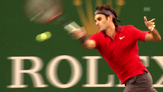 Video «Highlight-Clip: Roger Federers jüngster Sieg über Novak Djokovic» abspielen