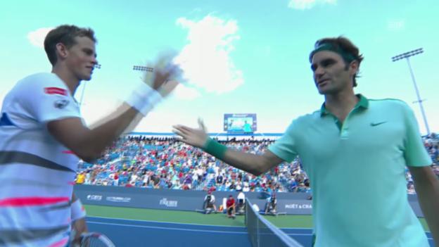 Video «Tennis: ATP Cincinnati, 2. Runde Federer - Pospisil» abspielen