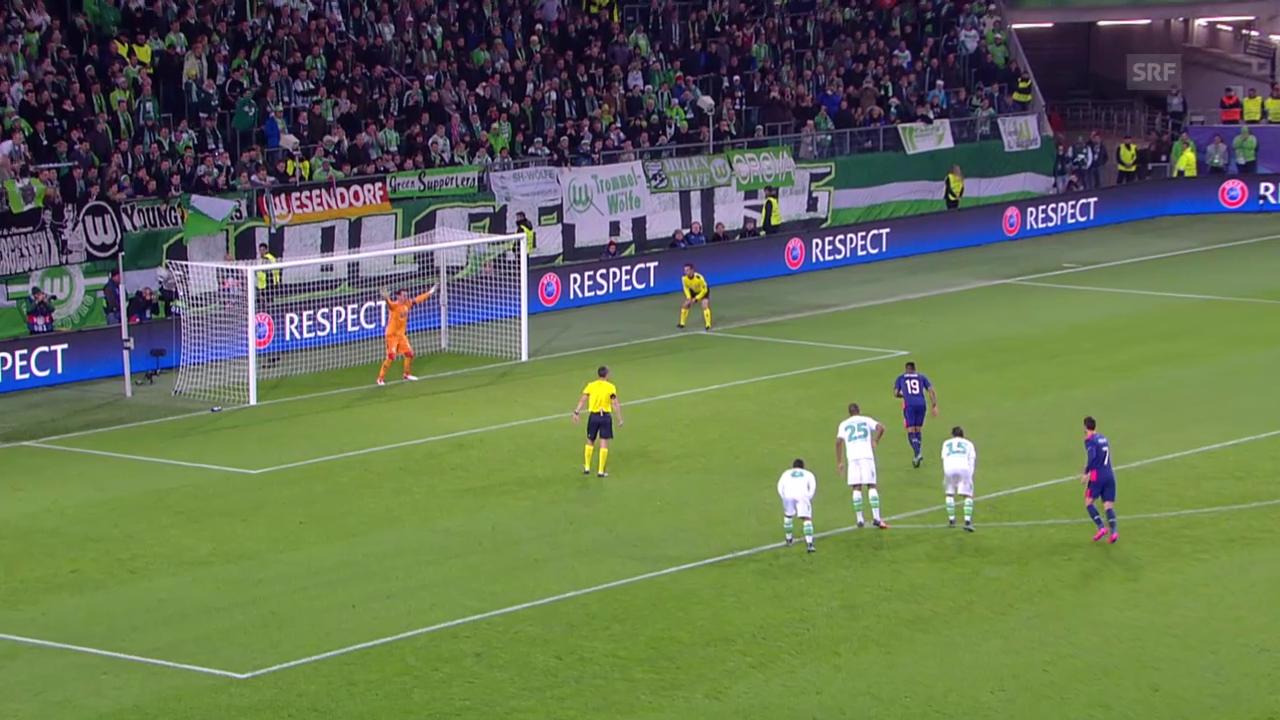 Fussball: CL, Wolfsburg - Eindhoven, Diego Benaglio hält Elfmeter