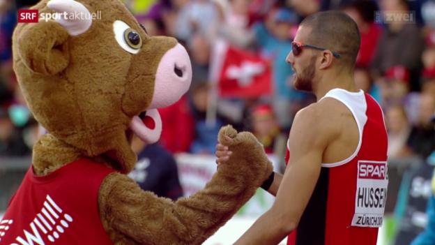 Video «Leichtathletik: Hussein zieht in den EM-Final über 400 m Hürden ein» abspielen