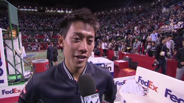 Video «Tennis: ATP Tokio, Nishikori-Raonic, Satzbälle» abspielen