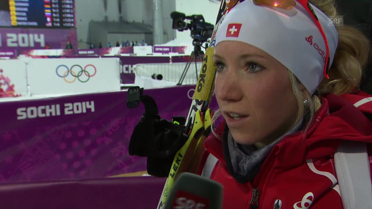 Biathlon: Mixed-Staffel, Interview E. Gasparin (sotschi direkt, 19.02.2014)