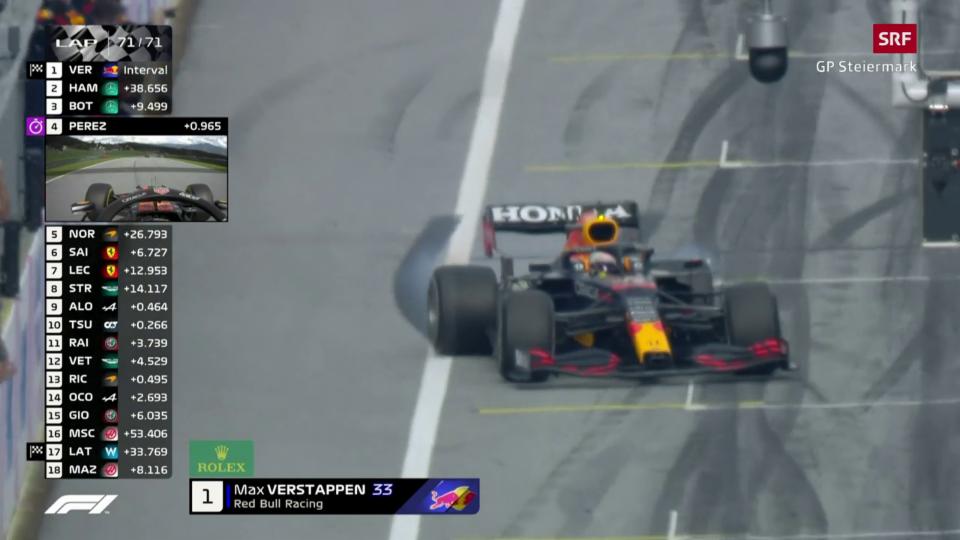 Cura che Max Verstappen vegn en l'arrivada.