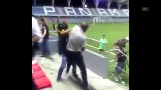Video «Fussball: Costa Ricas Coach Wanchope prügelt sich» abspielen