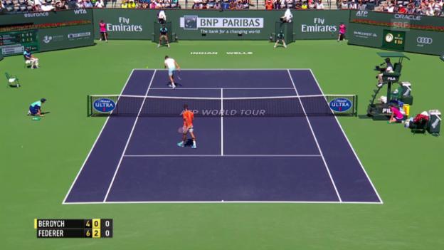 Video «Tennis: ATP 1000 Indian Wells: Sehenswerter Punkt von Federer» abspielen