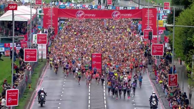 Video «Leichtathletik: Der London Marathon 2015» abspielen
