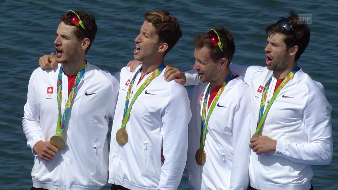 «Viermal» Gold: Siegerehrung der Leichtgewichts-Vierer