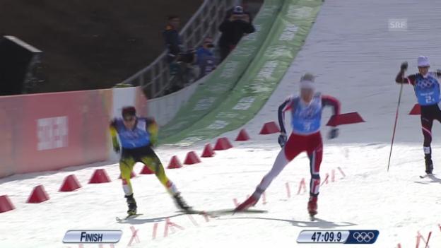 Video «Zieleinlauf Kombi-Staffel (sotschi direkt, 20.02.14)» abspielen