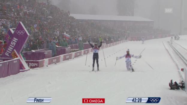 Video «Biathlon: Massenstart Männer 15 km (sotschi direkt, 18.02.2014)» abspielen
