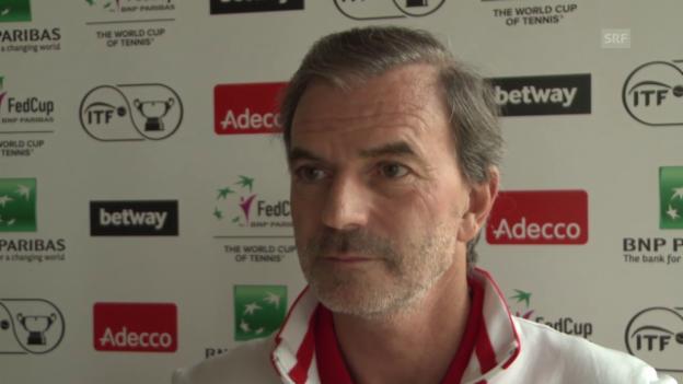 Video «Fed-Cup-Captain Heinz Günthardt vor der Partie gegen Deutschland» abspielen