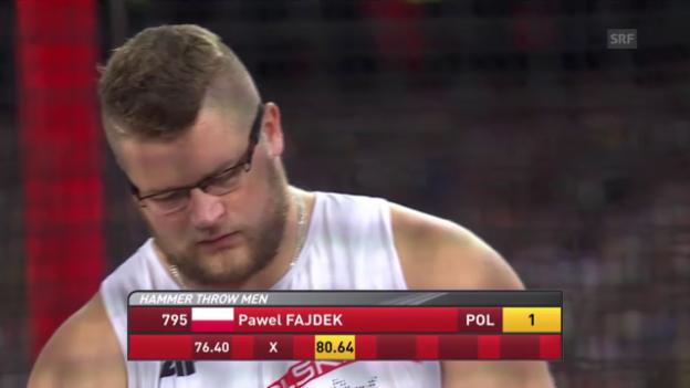 Video «Leichtathletik: WM Peking 2015, Hammerwerfen, Goldwurf von Pawel Fajdek» abspielen