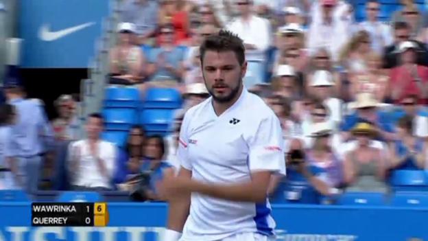 Video «Tennis: ATP Queen's, Wawrinka - Querrey: Satz- und Matchball» abspielen