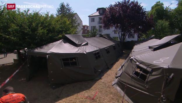 Video «Erstmals Asyl-Zeltunterkünfte in der Schweiz» abspielen