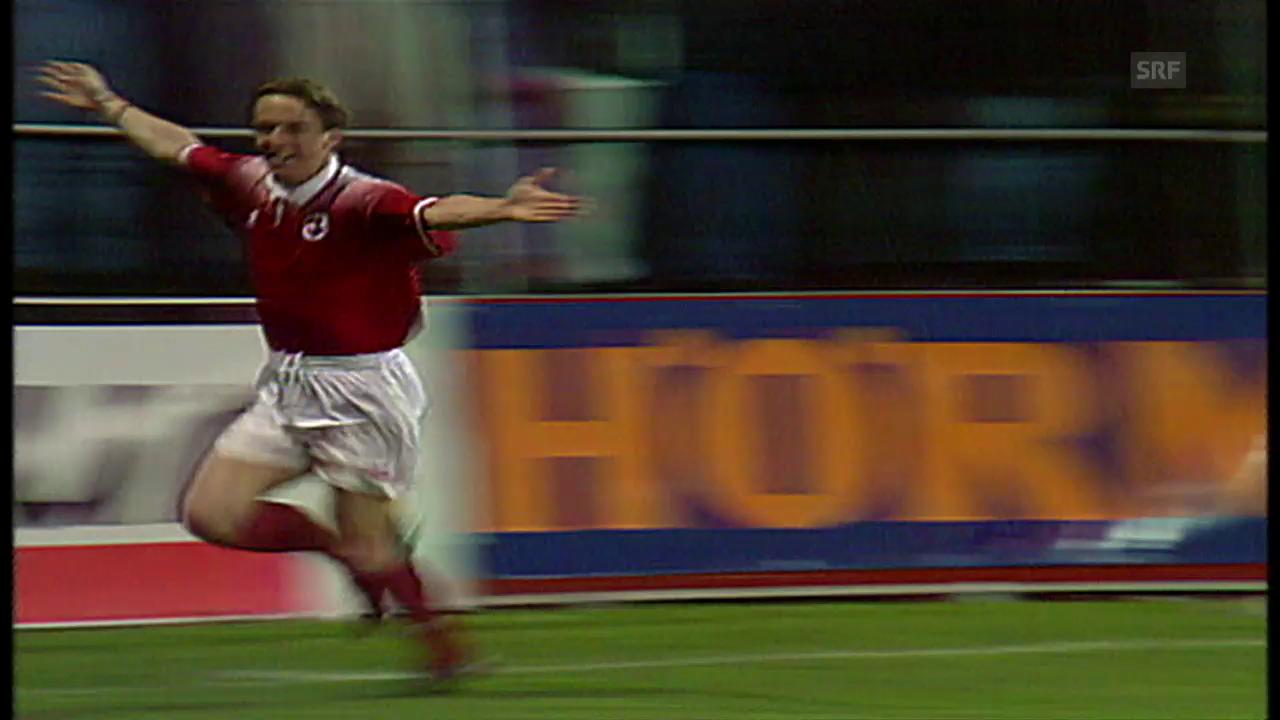 1997: 1. Duell Schweiz vs. Lettland – Adrian Kunz trifft