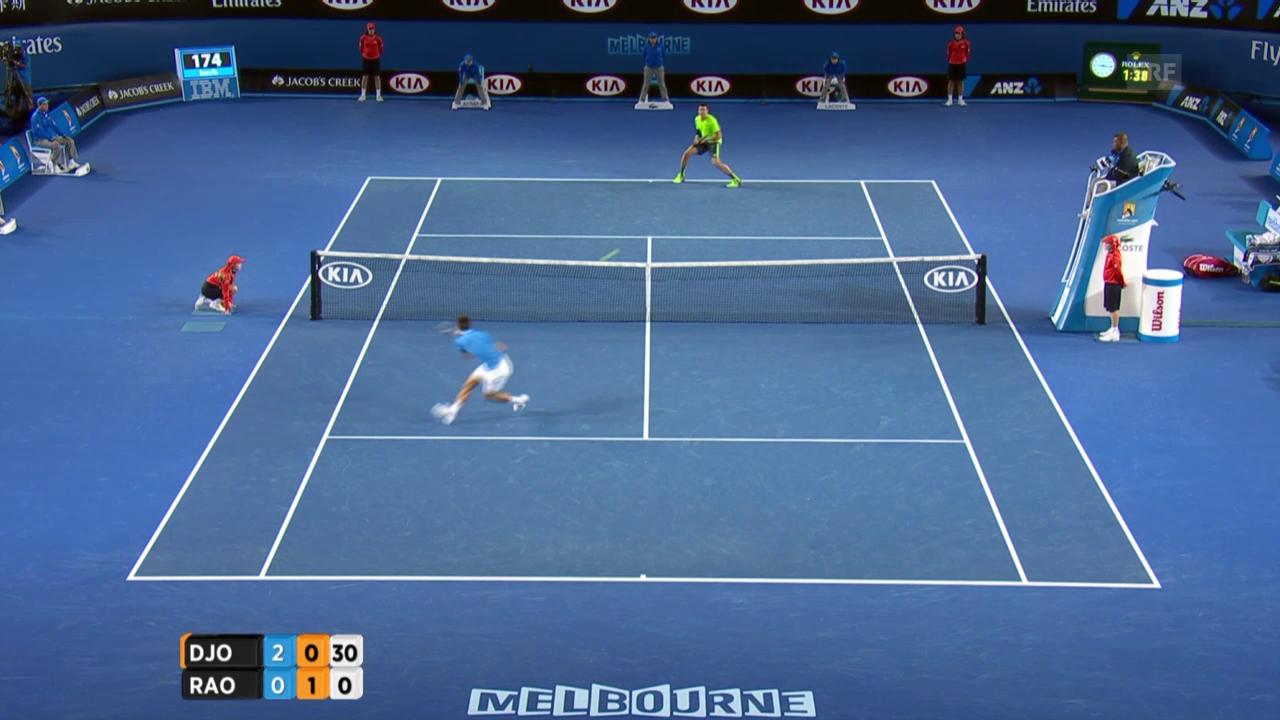 Tennis: Australian Open, Viertelfinal Djokovic-Raonic, spektakulärer Punkt