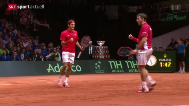 Video «Tennis: Davis-Cup-Final in Lille, Doppel» abspielen