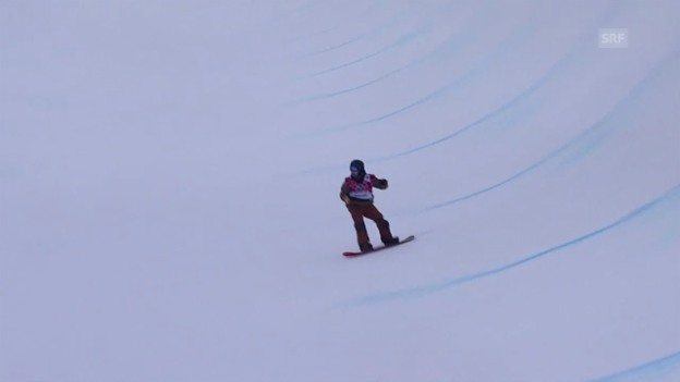 Video «Snowboard: Halfpipe Männer, Quali, 2. Run David Hablützel (sotschi direkt, 11.2.2014)» abspielen