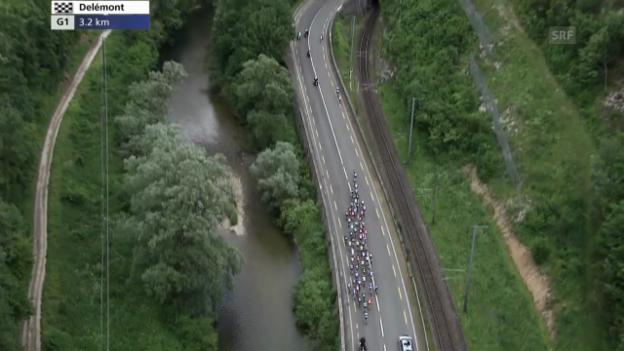 Video «Rad: Tour de Suisse, Schlussphase der 6. Etappe» abspielen