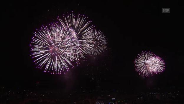 Video «Zur Bundesfeier: Das Feuerwerk in Basel» abspielen