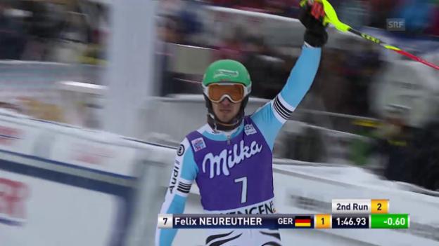 Video «Ski alpin: Slalom Wengen, 2. Lauf von Neureuther» abspielen