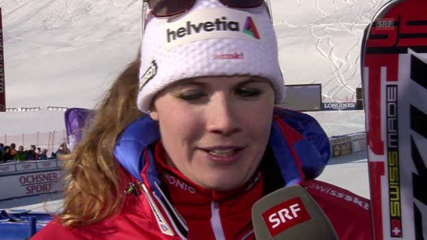 Video «Ski alpin: Weltcup der Frauen, Abfahrt in St. Moritz, Jnglin-Kamer im Interview» abspielen