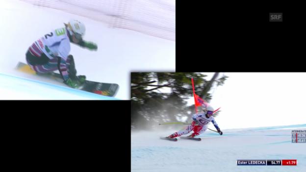 Video «Die doppelte Ledecka: Die tschechische Snowboarderin mischt nun auch im Ski-Weltcup mit» abspielen