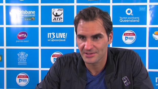 Video «Federer zeigt sich trotz Niederlage im Brisbane-Final zufrieden» abspielen
