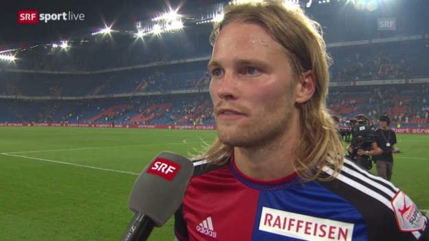 Video «Fussball: Champions League, Basel - Lech Posen, Interview Birkir Bjarnason» abspielen
