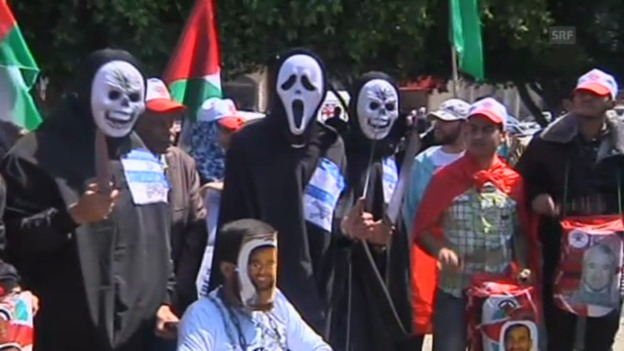 Video «Proteste im Gazastreifen und Hebron (unkommentiert)» abspielen
