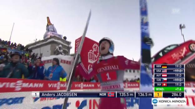 Video «Skispringen: Vierschanzentournee, Garmisch, 2. Sprung Jacobsen» abspielen