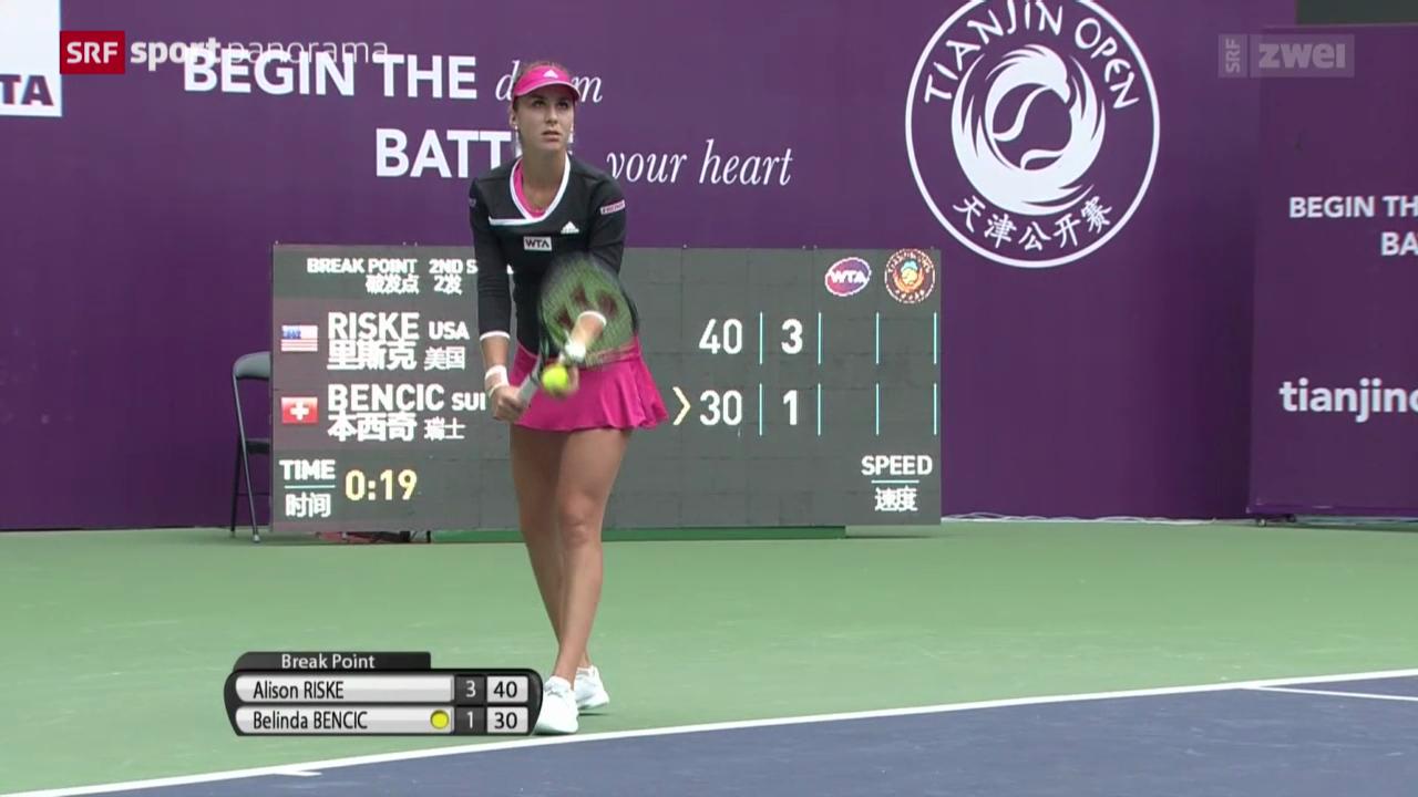 Tennis: WTA Tianjin, Final, Bencic - Riske