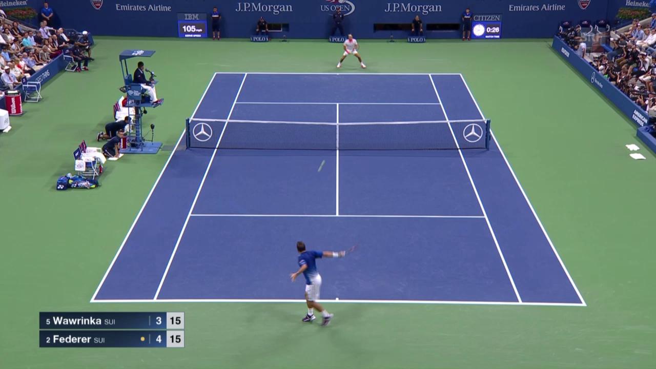 Tennis: US Open, Highlights Wawrinka - Federer Satz 1
