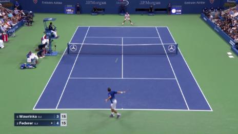 Video «Tennis: US Open, Highlights Wawrinka - Federer Satz 1» abspielen