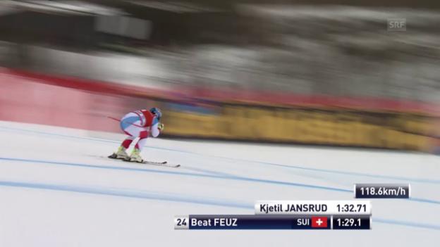 Video «Beat Feuz fährt sein bestes Super-G-Ergebnis der Saison ein» abspielen