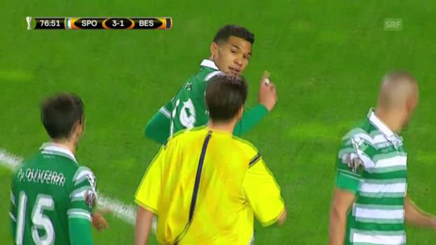 Video «Fussball: Europa League, 6. Spieltag, Sporting - Besiktas, Teo und sein kreativer Torjubel» abspielen