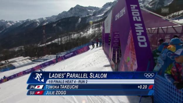Video «Snowboard: Parallel-Slalom Frauen, Achtelfinal, 2. Lauf von Julie Zogg (sotschi direkt, 22.2.2014)» abspielen