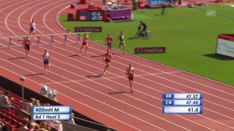 Video «Leichtathletik: Hussein gewinnt Vorlauf über 400 m Hürden» abspielen